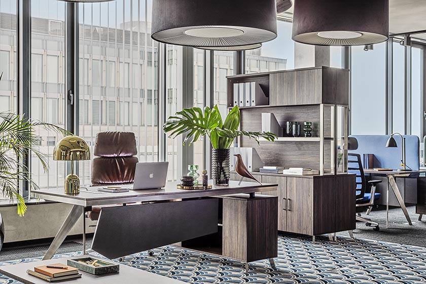 Kolekcja mebli biurowych Platinum jest przeznaczona do dużych, nowoczesnych przestrzeni biurowych. Charakteryzuje ją interesująca kolorystyka i nowoczesne, surowe wzornictwo.