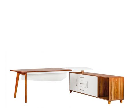 Nowoczesne biurko z pomocnikiem EVOLUTIO A309 240 cm