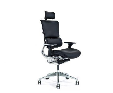 Skórzany ergonomiczny fotel biurowy ERGO 900 czarny