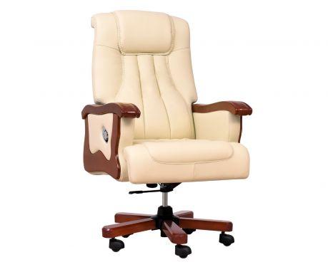 Fotel skórzany PRESTIGE kremowy