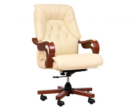 Fotel skórzany MAKLER kremowy